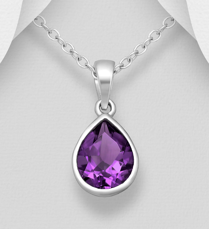 "925 Sterling Silver Droplet Solitaire Pendant Chain, Decorated with A Pear Shape Amethyst Stone Set In A ""Rub Over"" Setting - The Silver Vault UK"