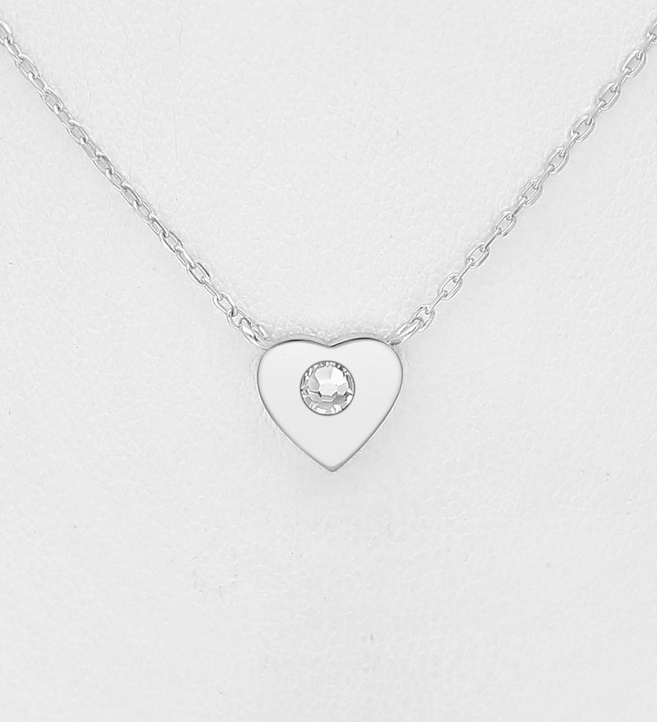 925 Sterling Silver Heart Pendant & Chain, Set with An Authentic Swarovski Crystal Stone - Valentines Gift Idea