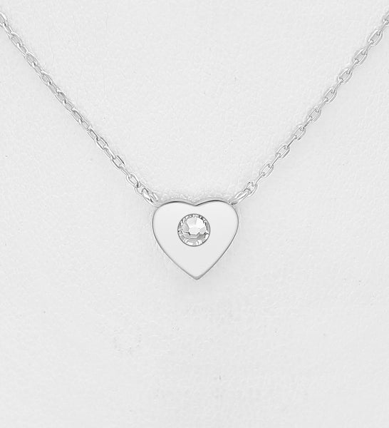 925 Sterling Silver Heart Pendant, Set with Authentic Swarovski® Crystal  - Valentines Gift Idea