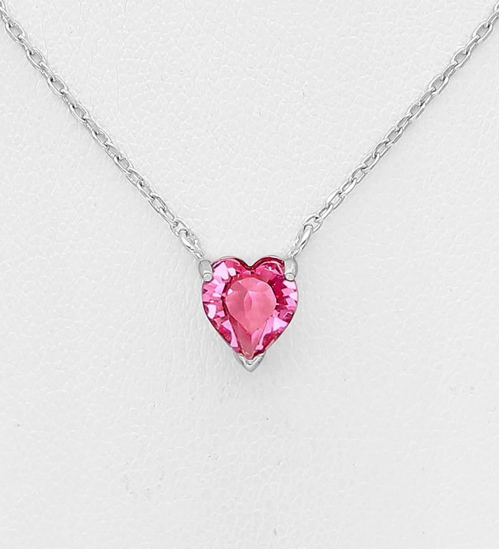 925 Sterling Silver Heart Pendant, Set with Authentic Swarovski® Crystal  - Valentines Gift Idea - The Silver Vault UK