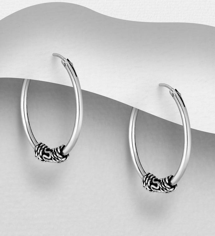 925 Sterling Silver Plain Hoop Earrings - The Silver Vault UK