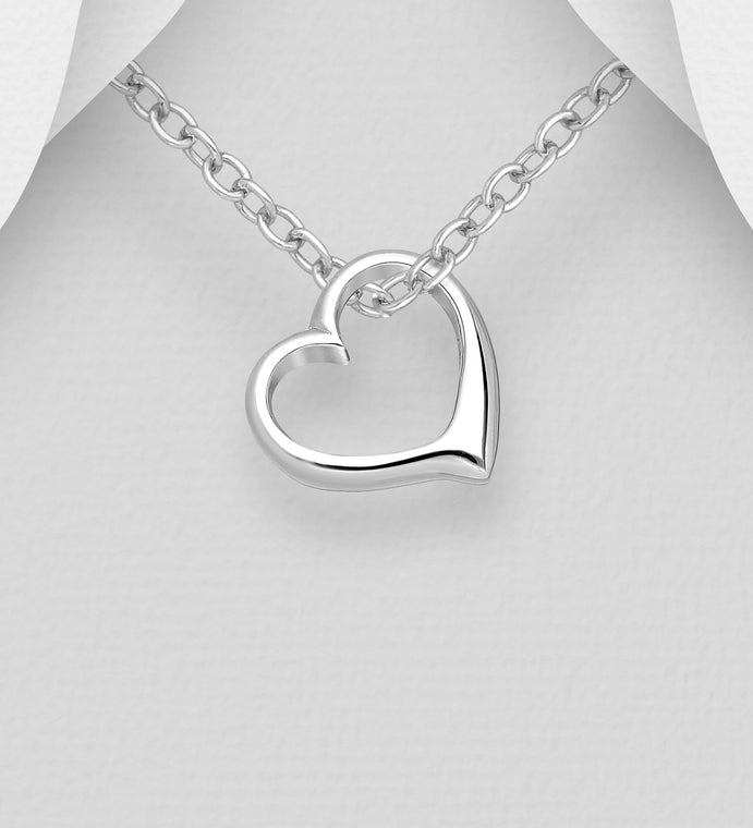 925 Sterling Silver Tiffany Style Heart Pendant & Chain - Valentines Gift Idea - The Silver Vault UK