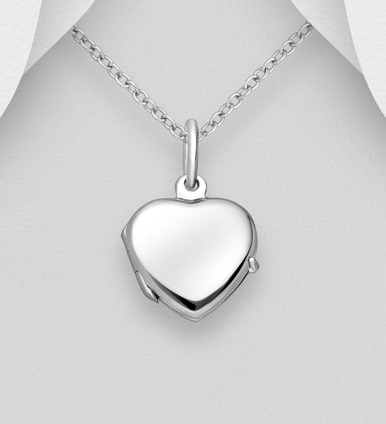 Copy of 925 Sterling Silver Heart Locket Pendant & Chain - The Silver Vault UK