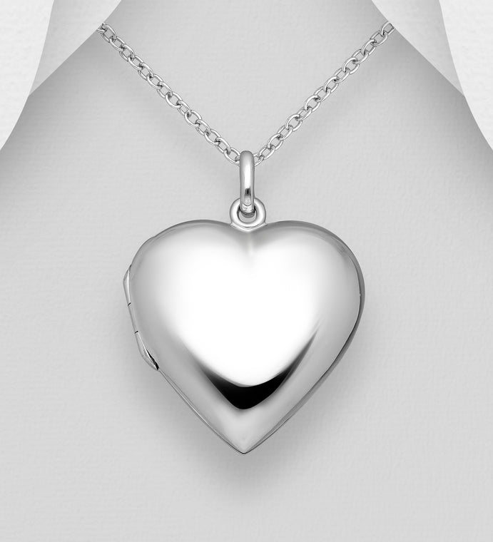 925 Sterling Silver Heart Locket Pendant & Chain - Valentines Gift Idea - The Silver Vault UK