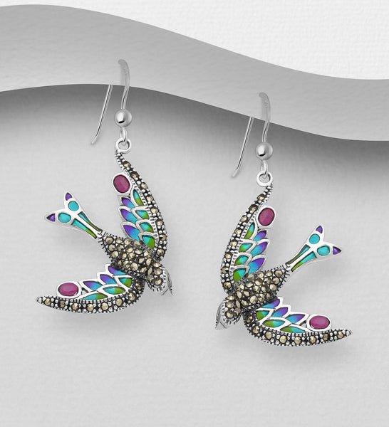 925 Sterling Silver Bird Hook Earrings, Decorated with Colored Enamel, Gemstones and Marcasite - The Silver Vault UK