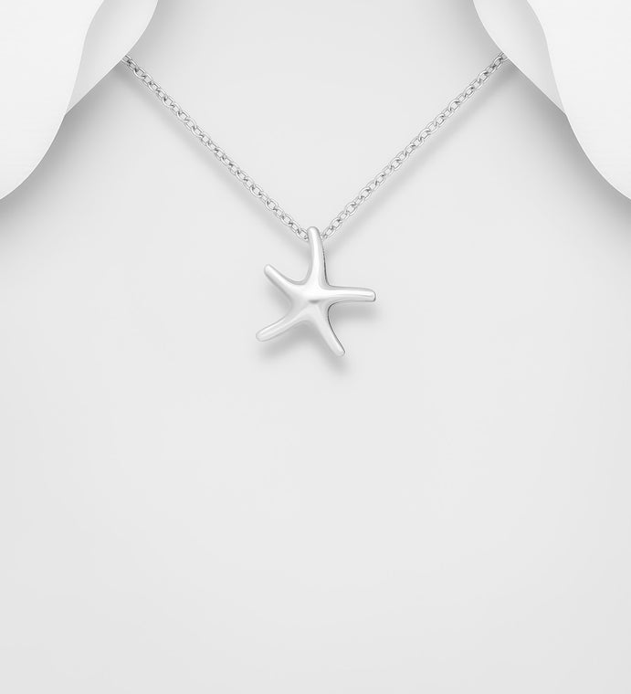 925 Sterling Silver Pendant Starfish Pendant and Chain - The Silver Vault UK