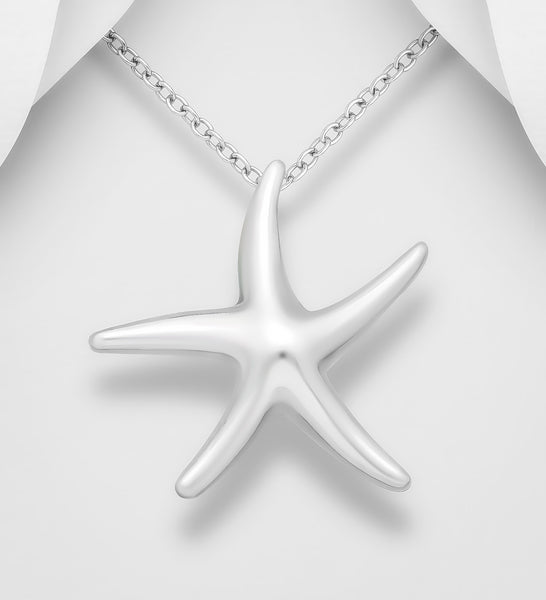 925 Sterling Silver Elegant Star Fish Pendant and Chain - The Silver Vault UK