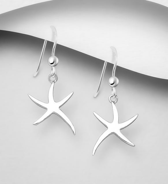 925 Sterling Silver Starfish Hook Earrings - The Silver Vault UK