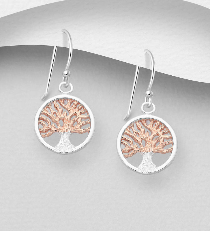 925 Sterling Silver Tree of Life Drop Earrings, Plated with 1 Micron 18K Pink Gold - The Silver Vault UK
