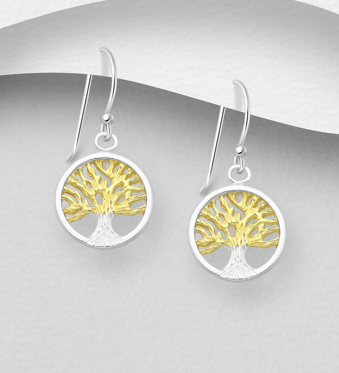 925 Sterling Silver Tree of Life Drop Earrings, Plated with 1 Micron 18K Yellow Gold - The Silver Vault UK