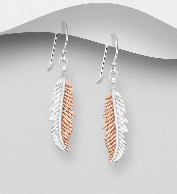 925 Sterling Silver  Drop Feather Earrings, Plated with 1 Micron  of 18K Pink Gold - The Silver Vault UK