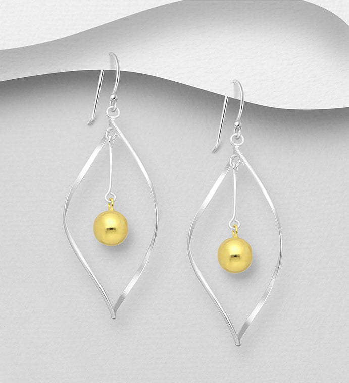 925 Sterling Silver  Drop Ball Earrings, Plated with 1 Micron  of 18K Yellow Gold - The Silver Vault UK