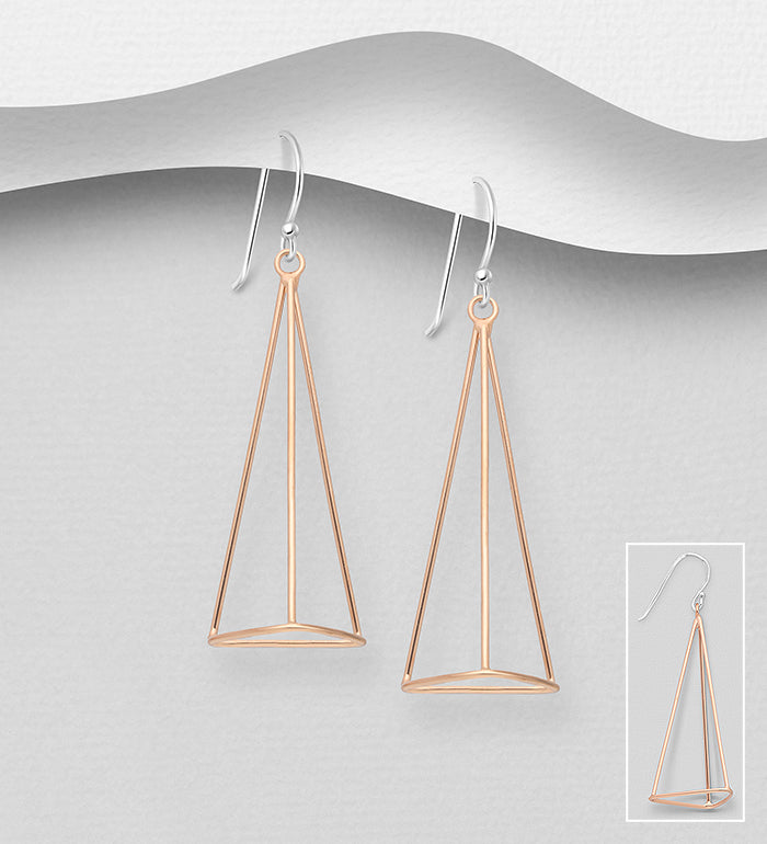 925 Sterling Silver Geometric Drop Earrings,  Plated with 1 Micron  of 18K Pink Gold - The Silver Vault UK