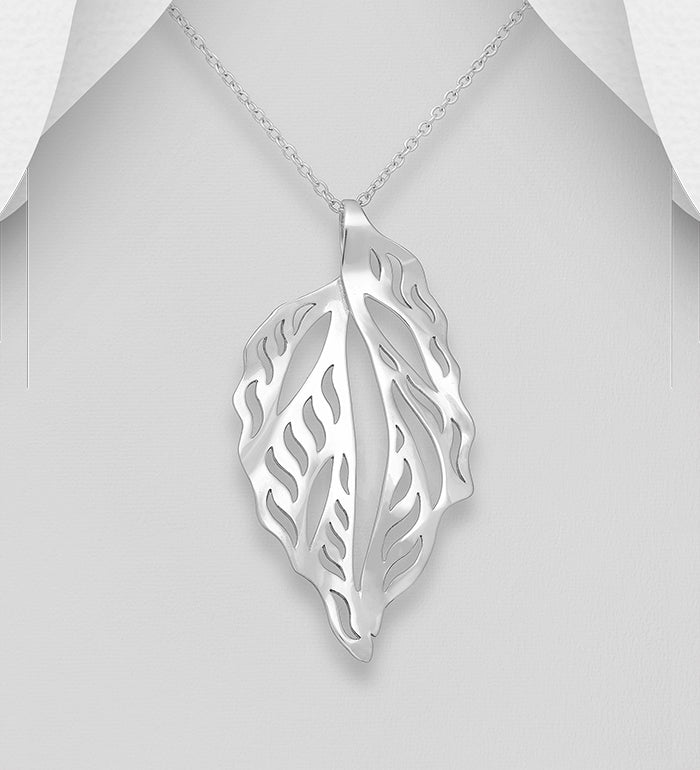 925 Sterling Silver Solid Hand Crafted Leaf Pendant & Chain - The Silver Vault UK