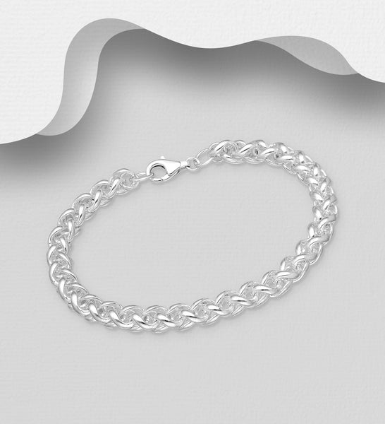 925 Sterling Silver Solid Entwined Bracelet - The Silver Vault UK