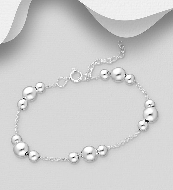 925 Sterling Silver Ball Bracelet Bracelet - The Silver Vault UK