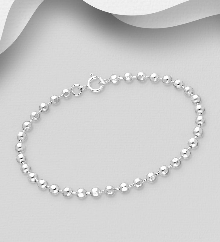 925 Sterling Silver Ball Bracelet With Chamfered Edges To the Balls - The Silver Vault UK