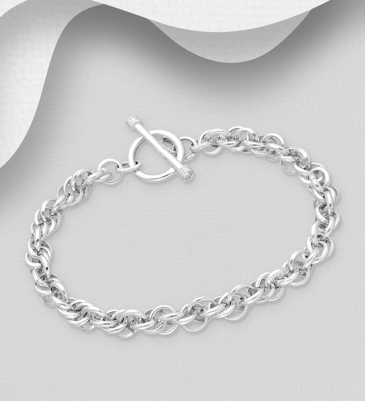 925 Sterling Silver Solid Rope Style Bracelet - The Silver Vault UK