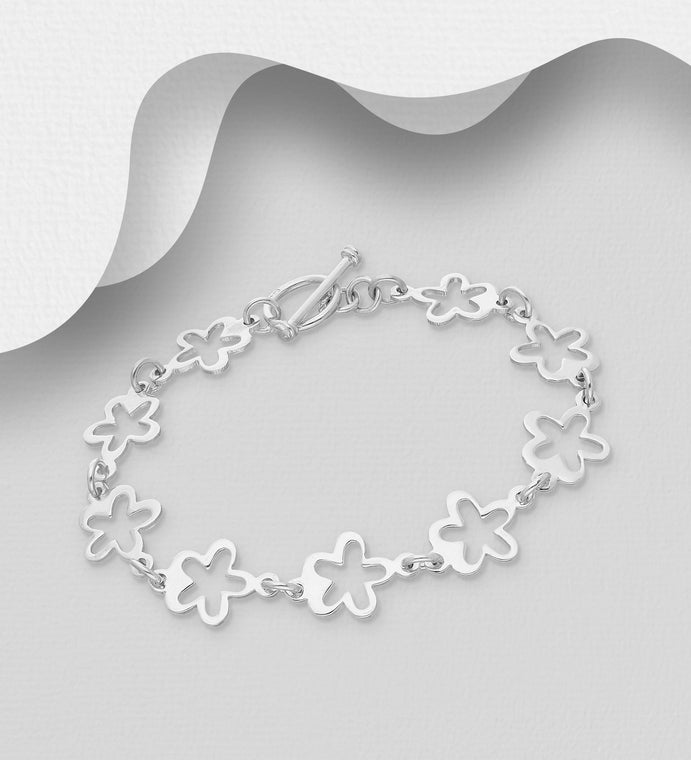 925 Sterling Silver Fancy Flower Shape Link Bracelet - The Silver Vault UK