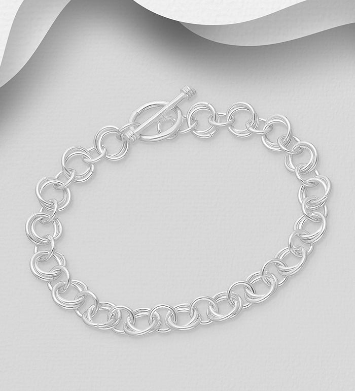 925 Sterling Silver Round double Link Bracelet - The Silver Vault UK