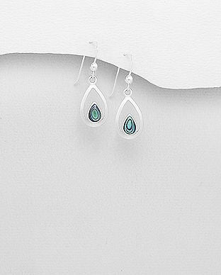 925 Sterling Silver Hook Earrings Decorated With Abalone Shell - The Silver Vault UK