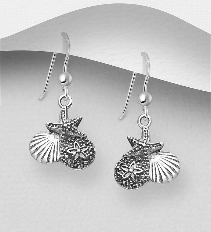 925 Sterling Silver Oxidized Sand Dollar & Shell & Starfish Hook Earrings - The Silver Vault UK