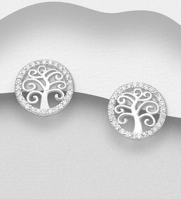 925 Sterling Silver Tree Of Life Stud Earrings Decorated with CZ Simulated Diamonds, Plated with - The Silver Vault UK