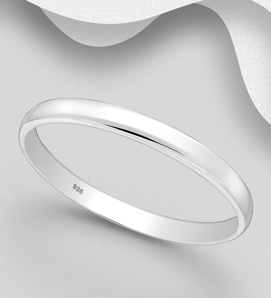 925 Sterling Silver Plain Classic Round Bangle - The Silver Vault UK