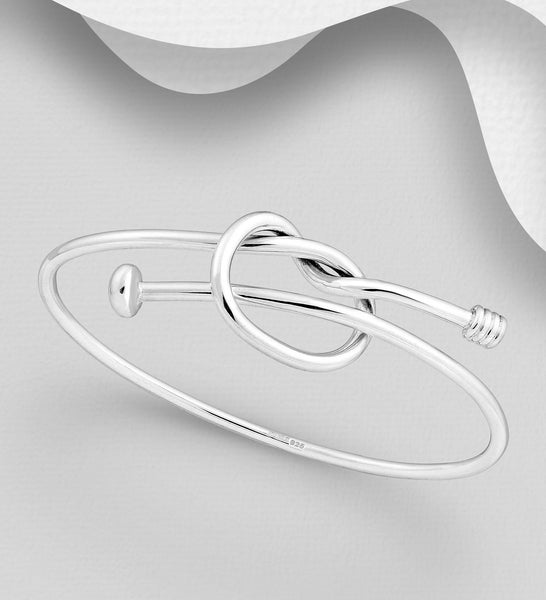 925 Sterling Silver Knott Expanding Bangle That Opens - The Silver Vault UK