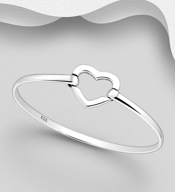 925 Sterling Silver Heart  Bangle That Open - The Silver Vault UK