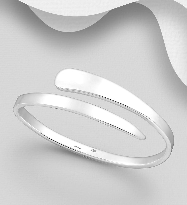925 Sterling Silver Hand Crafted Solid Bangle - The Silver Vault UK