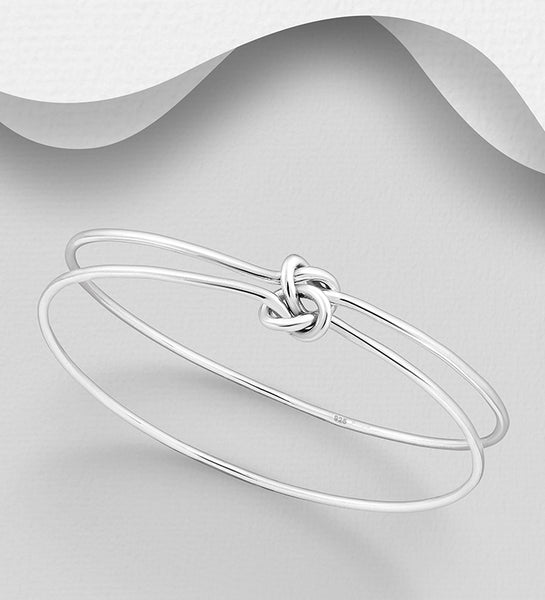 925 Sterling Silver Hand Crafted Two Single Bangles That Are Entwined - The Silver Vault UK