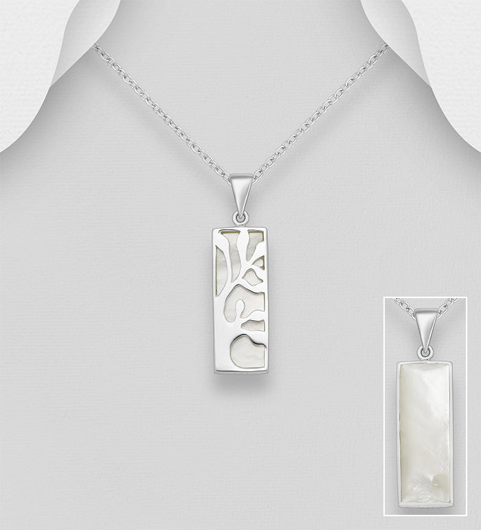 925 Sterling Silver Tree of Life Pendant Chain Decorated With Mother of Pearl Stone Shell - The Silver Vault UK