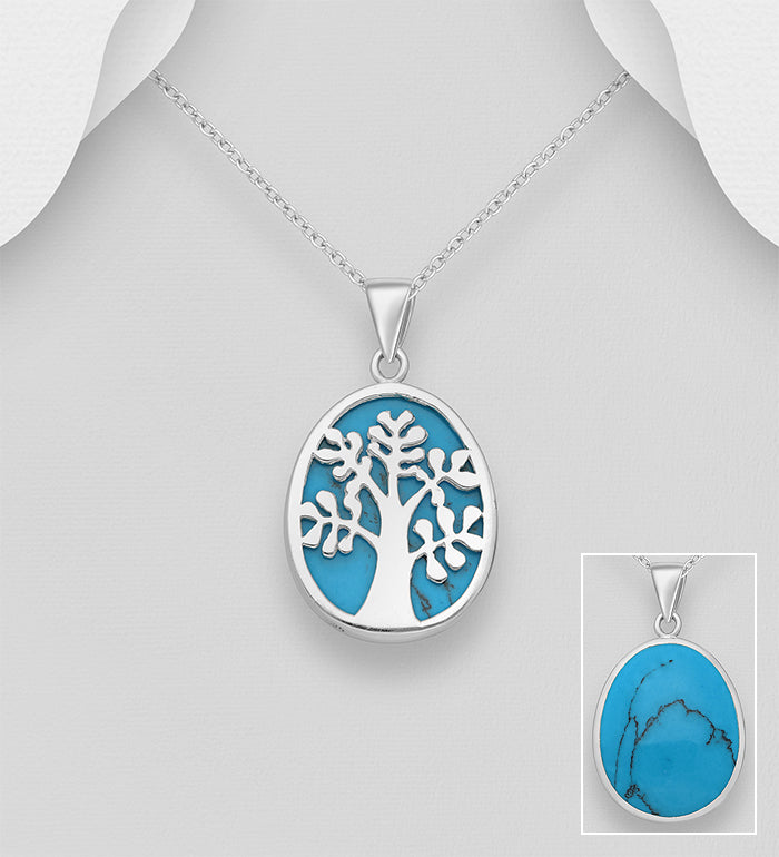 925 Sterling Silver Tree of Life Pendant & Chain Decorated With Turquoise Stone - The Silver Vault UK