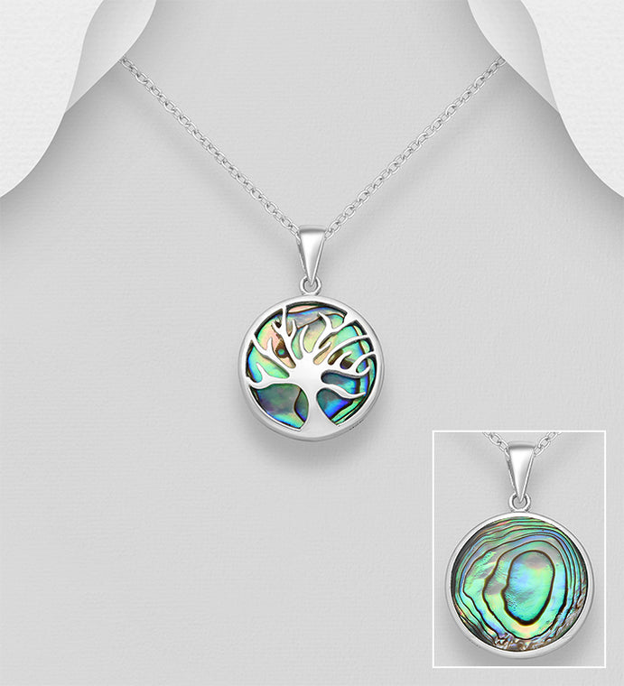 Sterling Silver Tree of Life Pendant Decorated With Abalone Shell - The Silver Vault UK
