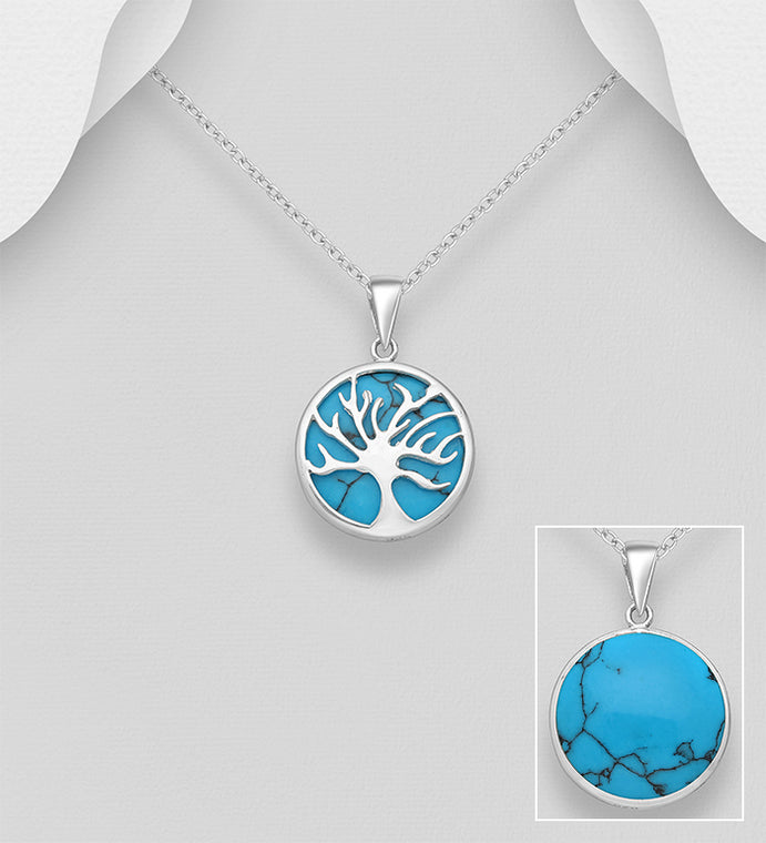 925 Sterling Silver Round Tree of Life Pendant & Chain Decorated With Turquoise Stone - The Silver Vault UK