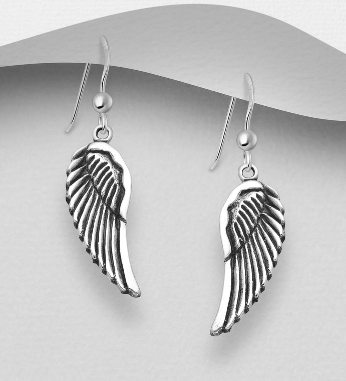 925 Sterling Silver Oxidized Wings Drop Earrings - The Silver Vault UK