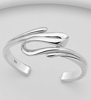 925 Sterling Silver Solid Hand Crafted Cuff Bangle - The Silver Vault UK