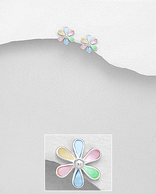 Copy of Sterling Silver Small Flower Shape Stud Earrings Set With Mixed Cultured Shell - The Silver Vault UK