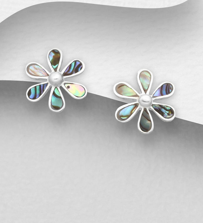 925 Sterling Silver Flower Stud Earrings Decorated with Abalone Shell - The Silver Vault UK