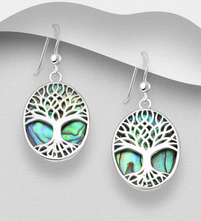 925 Sterling Silver Oval Tree Of Life Hook Earrings Decorated With Abalone Shell - The Silver Vault UK