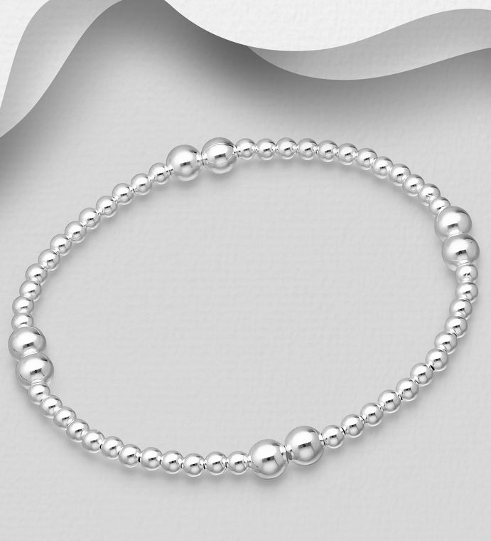 925 Sterling Silver Stretch Bracelet with Ball Beads - The Silver Vault UK