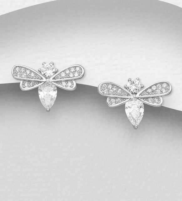 925 Sterling Silver Bee Stud Earrings Decorated with CZ Simulated Diamonds - The Silver Vault UK