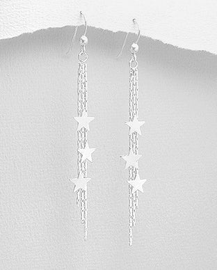 925 Sterling Silver Star Drop Earrings - The Silver Vault UK