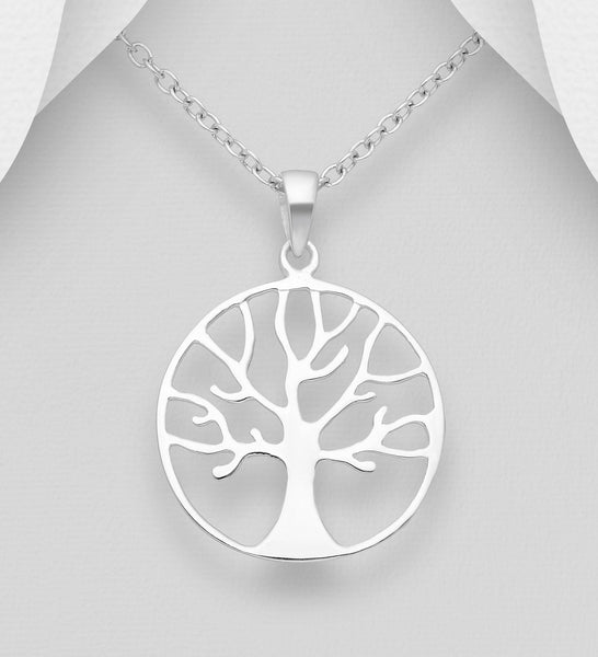 925 Sterling Silver Round Open Work Tree Of Life Pendant - The Silver Vault UK