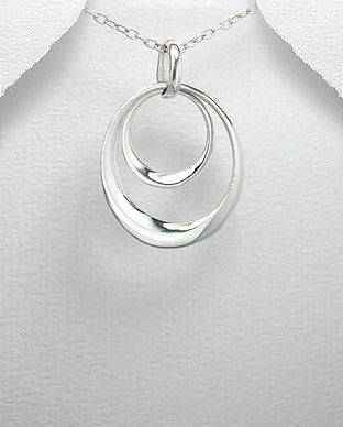 925 Sterling Silver Double Oval Link Pendant & Chain - The Silver Vault UK