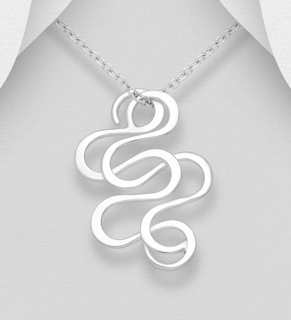 925 Sterling Silver Hand Crafted Modern Swirl Pendant & Chain - The Silver Vault UK
