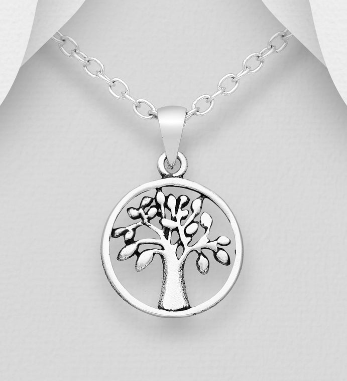 925 Sterling Silver Small Round Open Work Tree Of Life Pendant With Chain - The Silver Vault UK