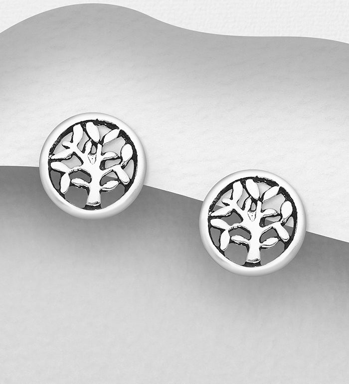 925 Sterling Silver Round Tree Of Life Stud Earrings - The Silver Vault UK