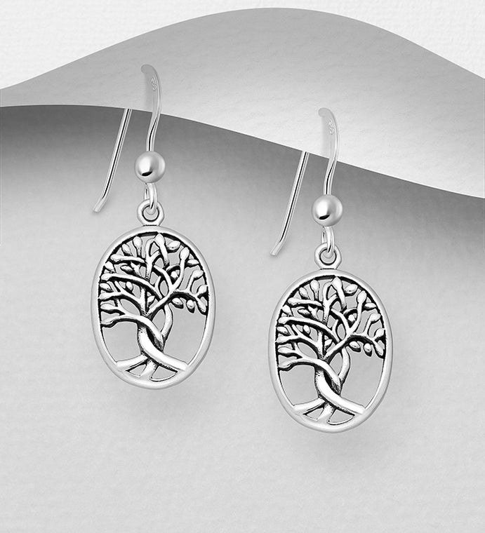 925 Sterling Silver Oxidized Oval Tree of Life Drop Earrings - The Silver Vault UK